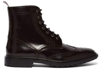 Thom Browne Wingtip Leather Boots - Mens - Dark Brown