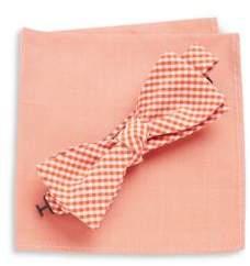 Tallia Orange Gingham Bow Tie and Pocket Square Set