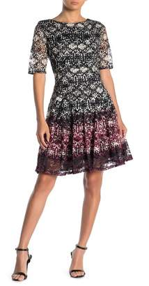 Gabby Skye 3/4 Sleeve Printed Lace Dress