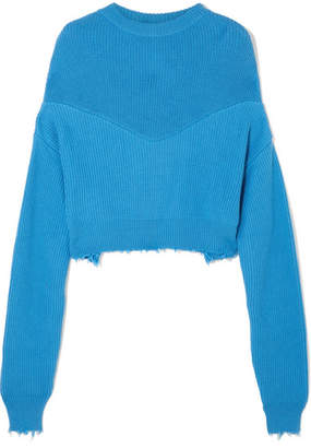 Unravel Project - Distressed Ribbed Cotton And Cashmere-blend Sweater - Blue