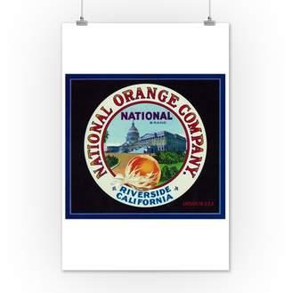 Lantern Press Riverside, California - National Brand Citrus - Vintage Crate Label (12x18 Art Print, Wall Decor Travel Poster)