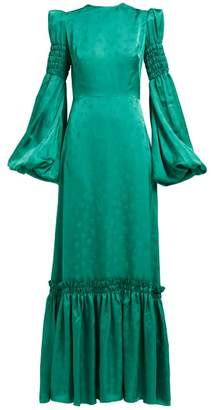The Vampire's Wife Cosmo Shirred Floral Jacquard Maxi Dress - Womens - Green