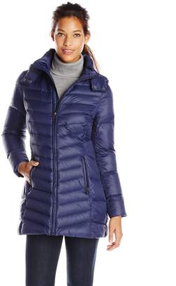 Tommy Hilfiger Women's Mid Length Packable Down with Hood