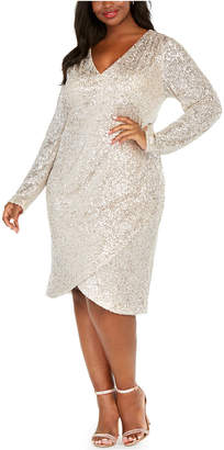 Calvin Klein Plus Size Draped Sequined Sheath Dress