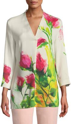 Escada Long-Sleeve Floral V-Neck Tunic