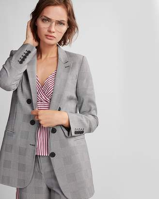 Express Oversized Plaid Three Button Blazer