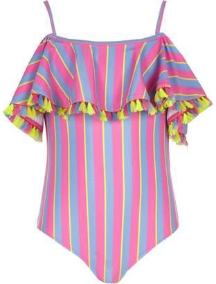 River Island Girls pink bardot stripe frill swimsuit