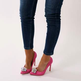 0397fd4e84fc at Public Desire · Public Desire Logic Embellished Flower Pointed Toe  Stiletto Heels in Hot Satin