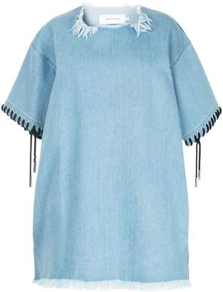 Marques Almeida Marques'almeida lace-up detail frayed dress