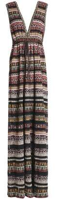 M Missoni Gathered Metallic Jacquard-knit Maxi Dress