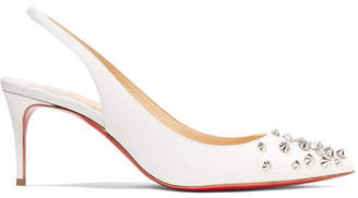 Christian Louboutin Drama 70 Studded Patent-leather Slingback Pumps - White