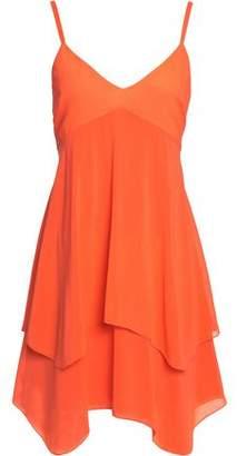 Alice + Olivia Alice+olivia Asymmetric Layered Silk-Georgette Mini Dress