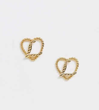 Reclaimed Vintage inspired gold plated L initial earrings