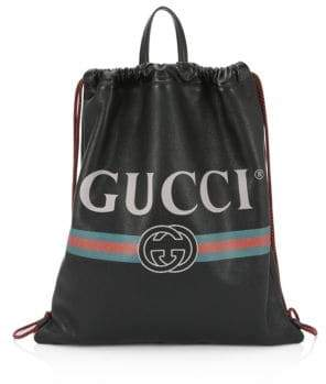 Gucci Leather Drawstring Backpack