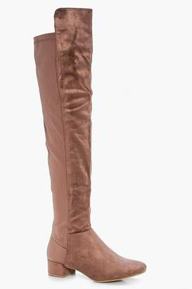 boohoo Block Heel Thigh High Boots
