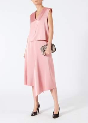 Tibi Bonded Satin High Waisted Draped Skirt