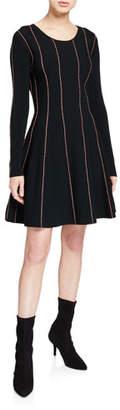 Escada Sport Doja Long-Sleeve Striped Dress