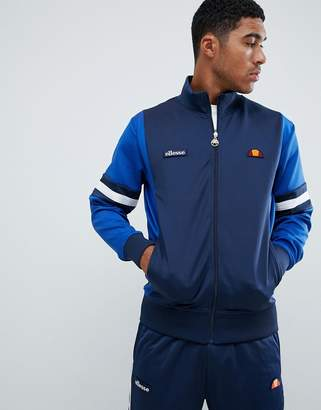 Ellesse Galturg poly tricot track jacket with sleeve panels in navy