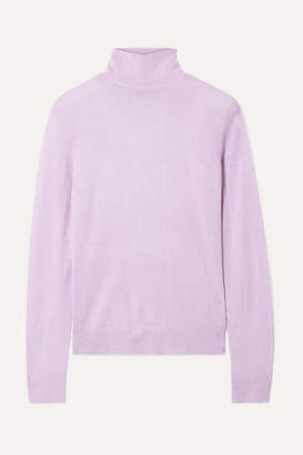 Theory Foundation Silk-blend Turtleneck Sweater - Lilac
