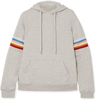 ALEXACHUNG Striped Cotton-jersey Hooded Top - Gray