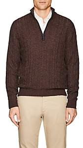 Loro Piana Men's Cable-Knit Cashmere Half-Zip Sweater - Lt. brown