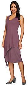 Halston H by V-Neck Sleeveless Knit Dress withOverlay