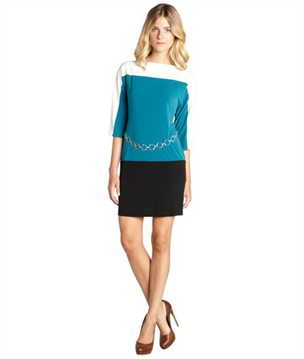 SD Collection teal, cream and black colorblocked chain belted three quarter sleeve dress