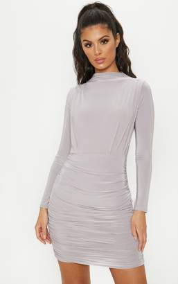 PrettyLittleThing Grey Slinky High Neck Ruched Front Bodycon Dress