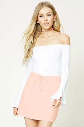 FOREVER 21+ Corduroy Lace-Up Mini Skirt $15.90 thestylecure.com