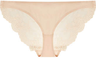 Stella McCartney Smooth & Lace Stretch-jersey And Lace Briefs - Beige