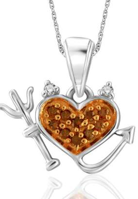 JewelersClub 1/20 Carat Red and White Diamond Sterling Silver Devil Heart Pendant