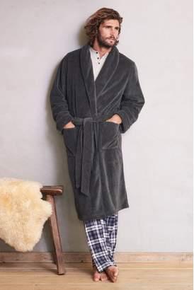 Next Mens Grey Herringbone Pattern Fleece Robe
