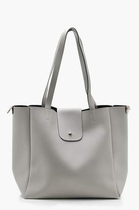 boohoo Popper Tab Shopper Tote