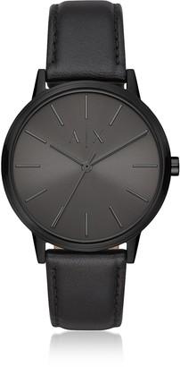 Emporio Armani Cayde Black Leather Men's Watch