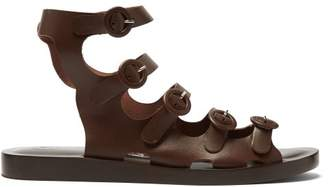 Álvaro Alvaro - Amore Buckled Leather Sandals - Womens - Dark Brown