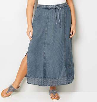 Avenue Embroidered Lace Denim Skirt
