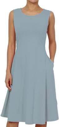 TheMogan Women's Sleeveless Pocket Stretch Cotton Fit & Flare Dress M