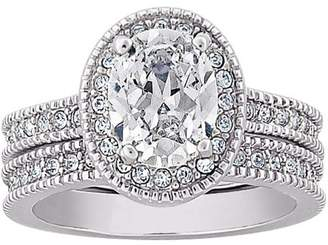 Generic Silver-Tone CZ Wedding Ring Set, 2 Piece