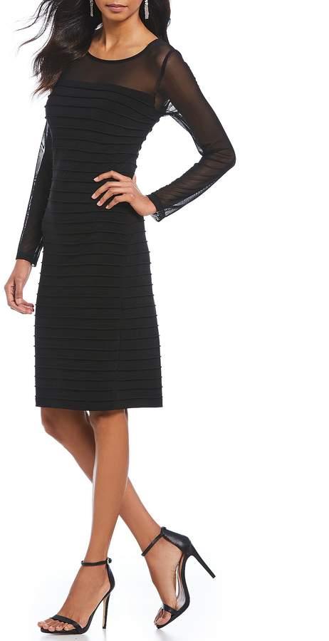 Adrianna Papell Illusion Neckline Pintuck Sheath Dress