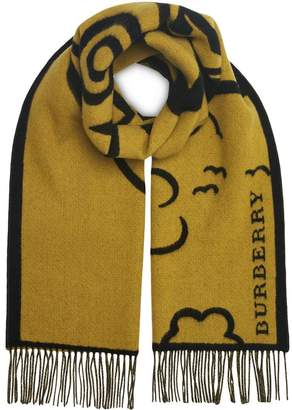 Burberry Street Art Wool Cashmere Jacquard Scarf
