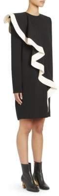 Givenchy Asymmetric Ruffled Shift Dress
