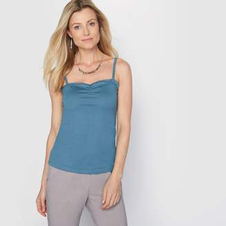 Anne Weyburn Cotton and Modal Top with Shoestring Straps