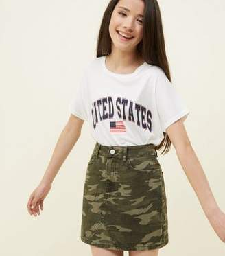 New Look Girls Green Camo Print Denim Skirt