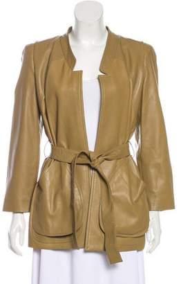 Oscar de la Renta Belted Leather Jacket