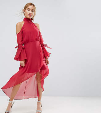 True Decadence Petite Premium Cold Shoulder Wrap Front Midi Dress With Fluted Sleeve Detail