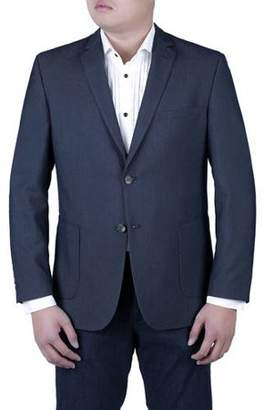 Verno Men's Navy Blue Pinhead Textured Slim Fit Italian Styled Notch Lapel Blazer