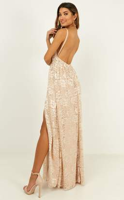Showpo Everything You Say Dress in champagne lace - 4 (XXS) Dresses
