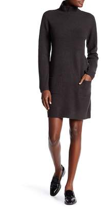 Max Studio Mock Neck Long Sleeve Patch Pocket Sweater Dress