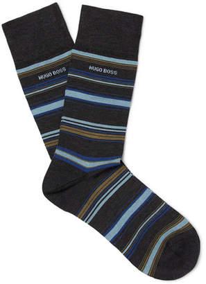 HUGO BOSS Striped Mercerised Stretch-Cotton Blend Socks