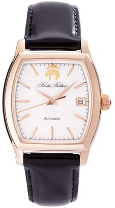 Brooks Brothers Rectangular Watch with Calfskin Band